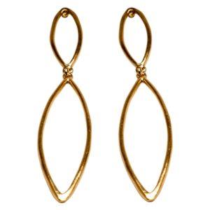 E59066.10 Boucles d'oreilles pendentif dorées à l'or fin 24 carats