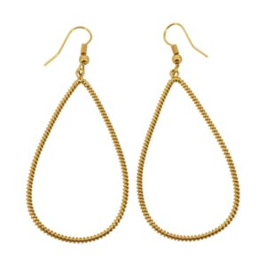 E61039.10 Boucles d'oreilles pendentif dorées à l'or fin 24 carats Mat