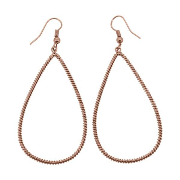 E61039.50 Boucles d'oreilles pendentif dorées à l'or fin rose 24 carats