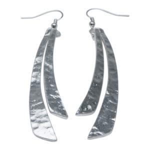 E58097.20 Boucles d'oreilles argentées au 925 sterling avec deux long bâton pendants