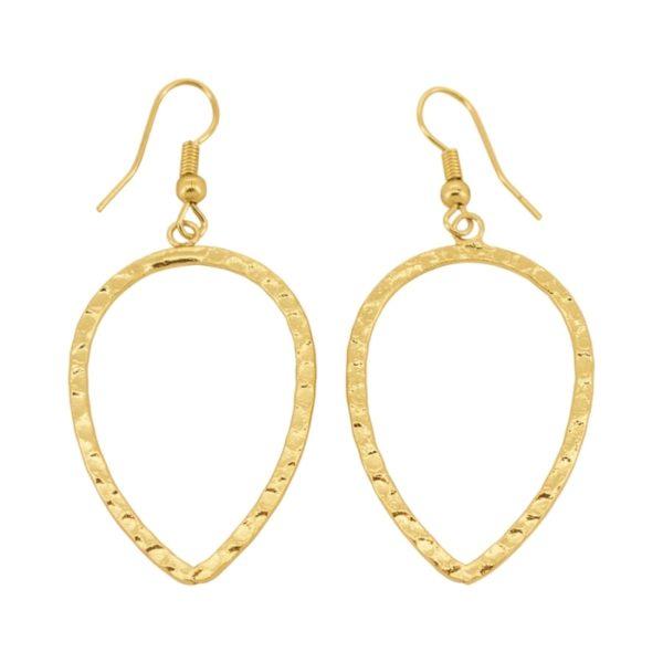 E61033.10 Boucles d'oreilles dorées à l'or fin 24 carats martelé en forme de goûte