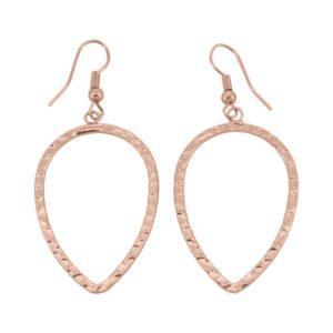 E61033.50 Boucles d'oreille dorées à l'or fin rose 24 carats martelé en forme de goûte