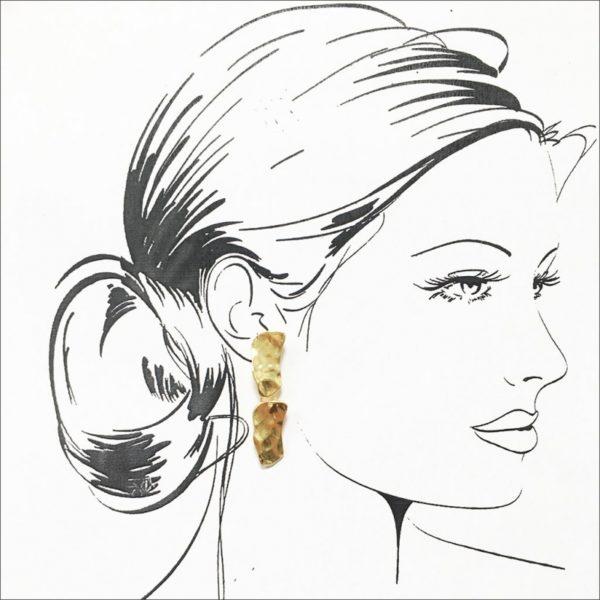 E57040.10 Boucles d'oreilles dorées à l'or fin 24 carats pendantif pavé