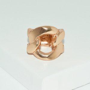 R58050.50 Bague dorée à l'or rose fin 24 carats anneau de chaine