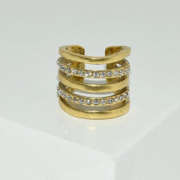 R59016.31 Bague dorée à l'or fin 24 carats avec rangée de cristaux clairs
