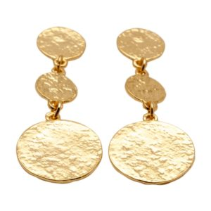 E50871.10 Boucles d'oreilles dorées à l'or fin 24 carats avec pièces martelé