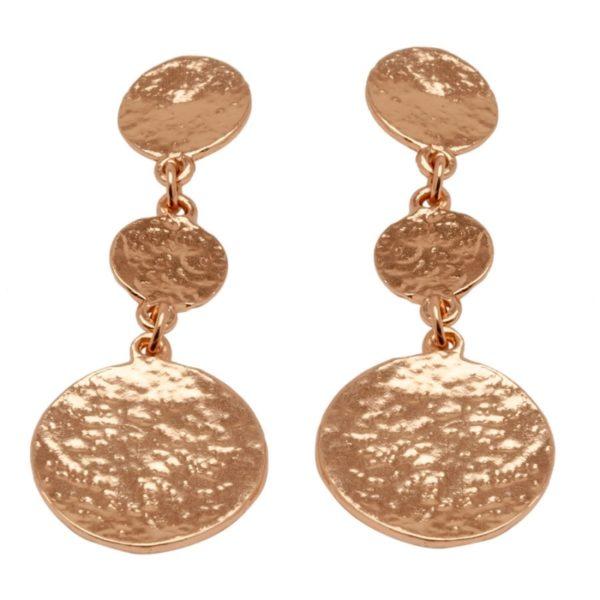 E50871.50 Boucles d'oreilles dorées à l'or rose 24 carats avec pièces martelé