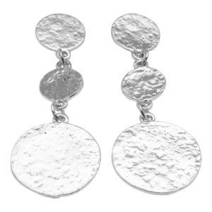 E50871.20 Boucles d'oreilles argentées au 925 sterling avec pièces martelé