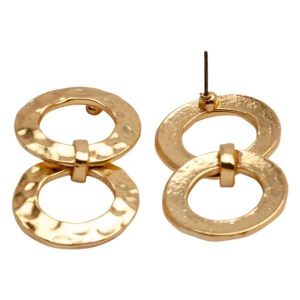 E50917.10 Boucles d'oreilles élégante dorées à l'or fin 24 carats anneaux martelé