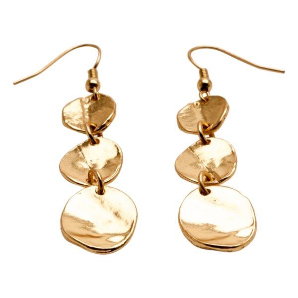 E56008.10 Boucles d'oreilles dorées à l'or fin 24 carats avec médaillons
