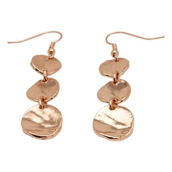 E56008.50 Boucles d'oreillesdorées à l'or rose 24 carats avec médaillons