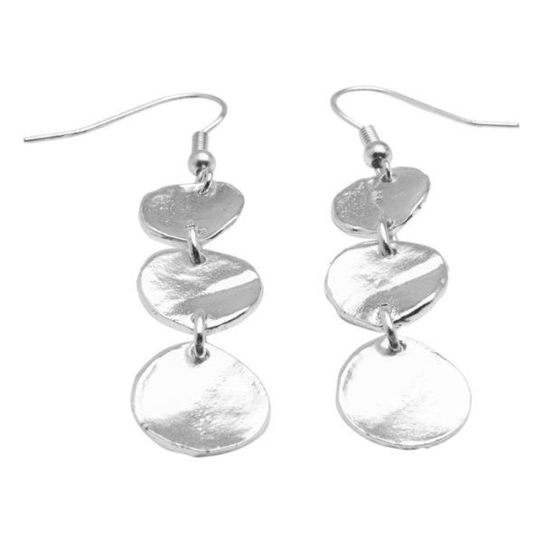 E56008.20 Boucles d'oreilles argentées au 925 sterling avec médaillons