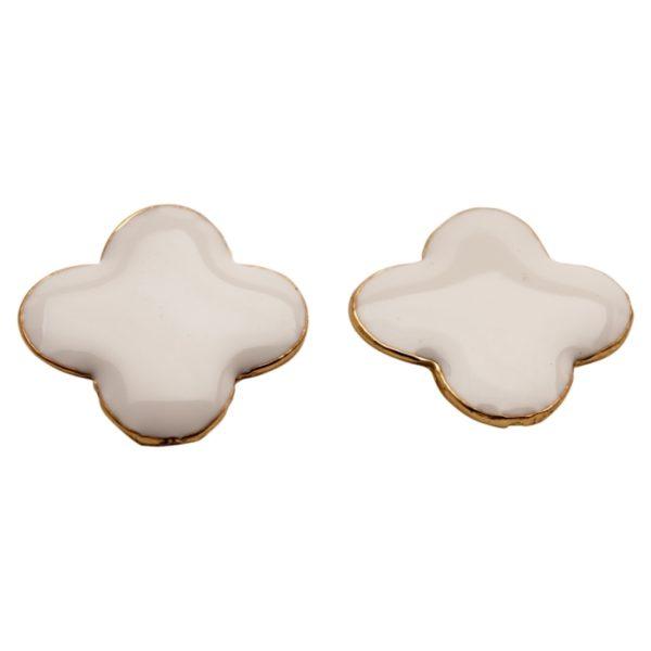E57018.12 Boucles d'oreilles trèfle Blancdorées à l'or fin 24 carats