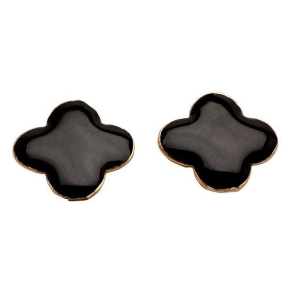 E57018.13 Boucles d'oreilles trèfle noir dorées a l'or fin 24 carats