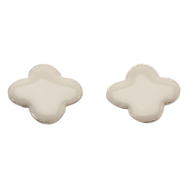 E57018.22 Boucles d'oreilles trèfle blanc argentées au 925 sterling