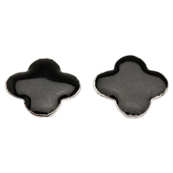 E57018.23 Boucles d'oreilles trèfle noir argentées au 925 sterling