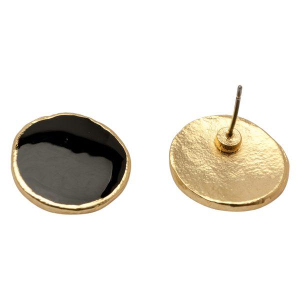 E52071.13 Boucles d'oreilles ronde dorées à l'or fin 24 carats émail noir