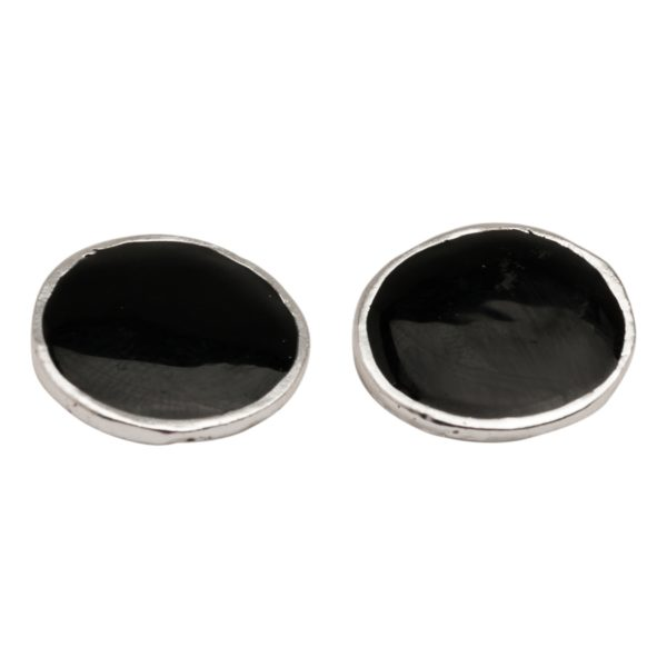 E52071.23 Boucles d'oreilles ronde argentées au 925 sterling émail noir