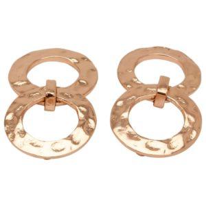 E50917.50 Boucles d'oreilles élégante dorées à l'or rose 24 carats anneaux martelé