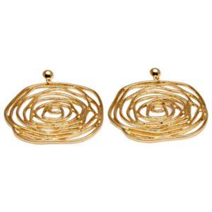 E58059.10 Boucles d'oreilles dorées à l'or fin 24 carats à pendentif tourbillonné