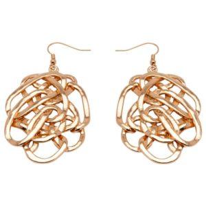 E59009.50 Boucles d'oreilles dorées à l'or fin rose 24 carats avec anneaux ovales