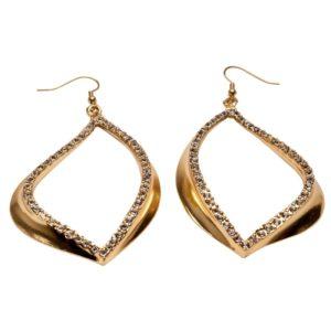 E59017.11 Boucles d'oreilles dorées à l'or fin 24 carats en forme de larme avec cristaux