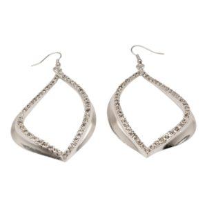 E59017.21 Boucles d'oreilles argentées au 925 sterling en forme de larme avec cristaux