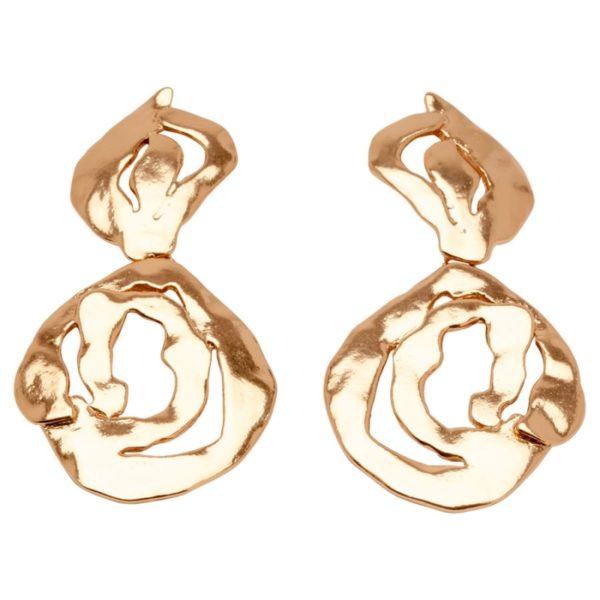 E58000.50 Boucles d'oreilles dorées à l'or rose 24 carats en forme de spirales découpées