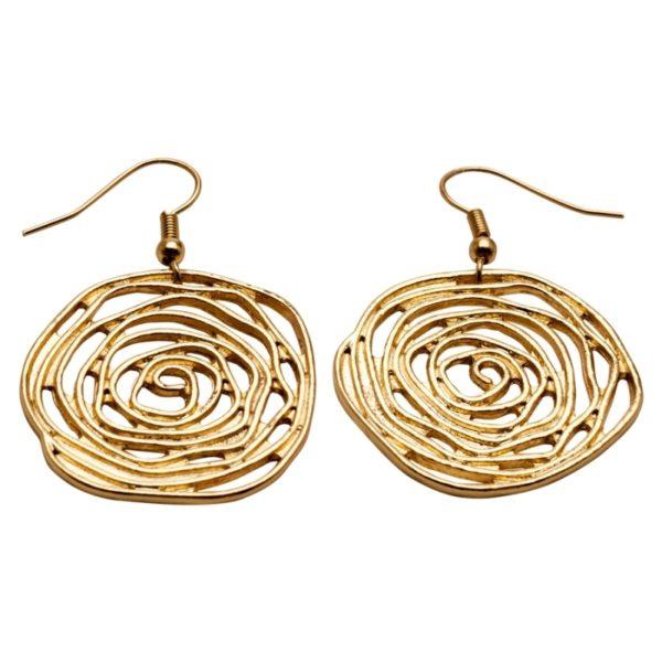 E58057.10 Boucles d'oreilles dorées à l'or fin 24 carats en forme de Rose