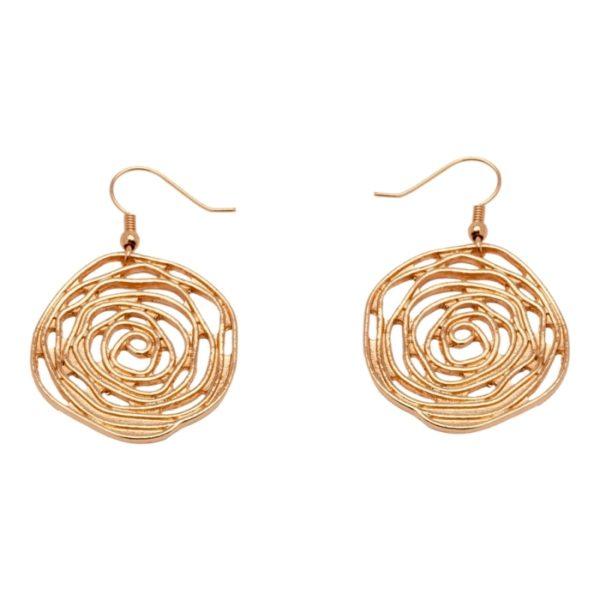 E58057.50 Boucles d'oreilles dorées à l'or rose 24 carats en forme de Rose