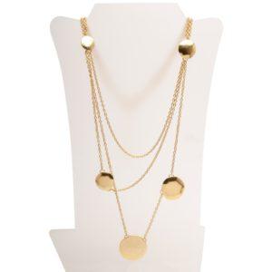 N60101.10 - Collier avec 3 couches fine de chaîne doré à l'or fin 24 carats