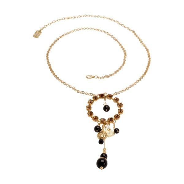 N53063.13 - Collier de Bohême doré à l'or fin 24 carats avec un grand cercle de cristaux