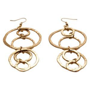 E56021.10 - Boucles d'oreilles dorées à l'or fin 24 carats avec pendentif martelé en anneaux