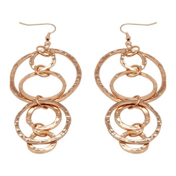 E56021.50 - Boucles d'oreilles dorées à l'or rose 24 carats avec pendentif martelé en anneaux