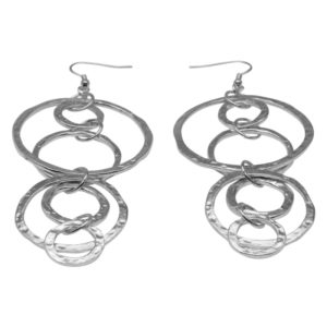 E56021.20 - Boucles d'oreilles argentées au 925 sterling avec pendentif martelé en anneaux