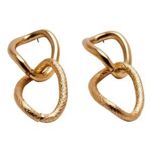 E56025.10 - Boucles d'oreilles dorées à l'or fin 24 carats avec pendentif ovales à deux textures