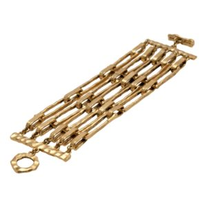 B50016.30 - Bracelet doré à l'or fin 24 carats avec cinq rangées de cadres rectangulaires