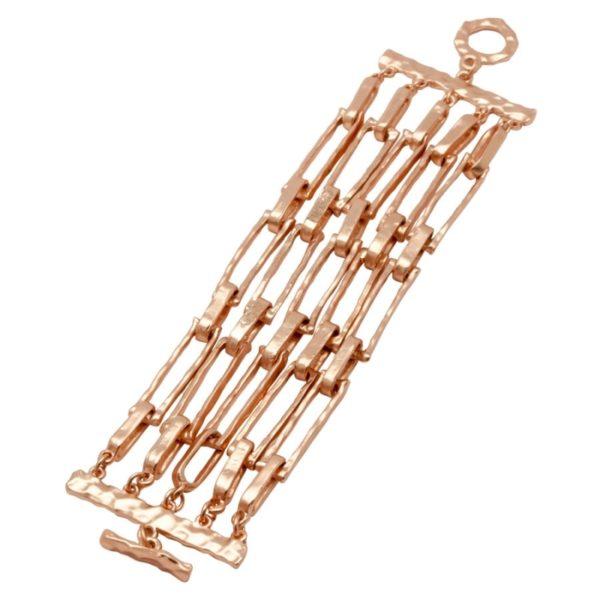 B50016.50 - Bracelet doré à l'or rose fin 24 carats avec cinq rangées de cadres rectangulaires