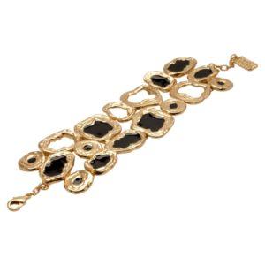 B53016.13 - Bracelet élégant doré à l'or fin 24 carats avec des formes découpé et émail noir