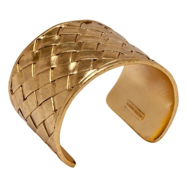 DIANE - B58006.30 - Bracelet doré à l'or fin 24 carats style panier tressé