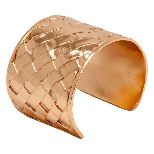 DIANE - B58006.50 - Bracelet doré à l'or rose fin 24 carats oxydé style panier tressé