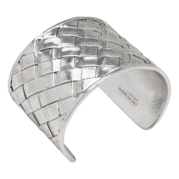 DIANE - B58006.40 - Bracelet argenté au 925 Sterling style panier tressé