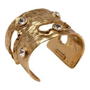 B50442.31 - Bracelet doré à l'or fin 24 carats oxydé avec des cristaux blanc