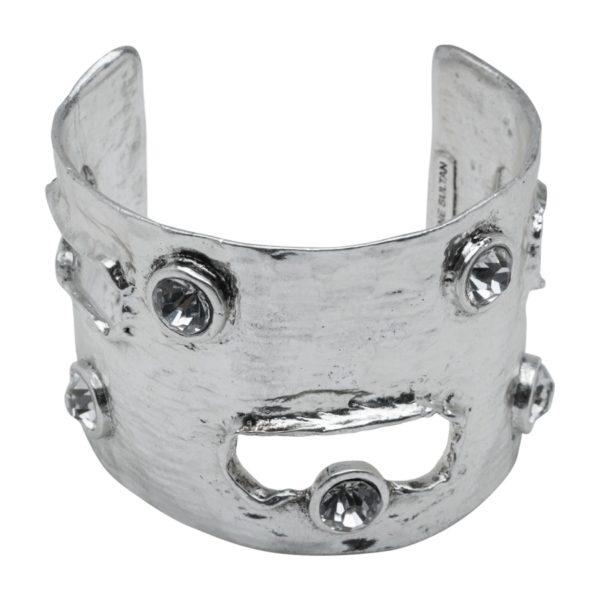 B50442.41 - Bracelet en étain argenté au 925 Sterling oxydé avec des cristaux noir