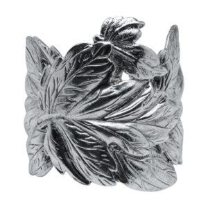 B60025.40 - Bracelet argenté au 925 Sterling avec un chevauchement de grandes feuilles