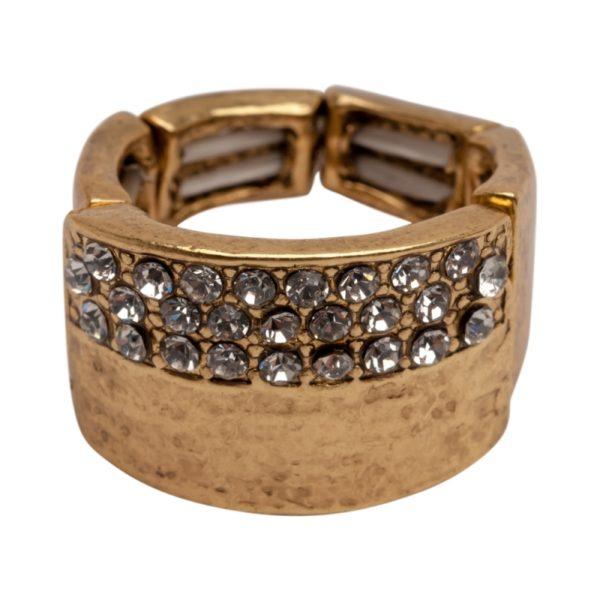 R50148.31 - Bague dorée à l'or fin 24 carats avec un chevauchement de grandes feuilles