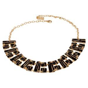 N57028.13 - Collier doré à l'or fin 24 carats avec des formes géométrique noir