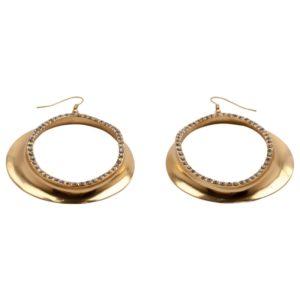 E50203.11 - Boucle d'oreilles dorées à l'or fin 24 carats avec cristaux clairs