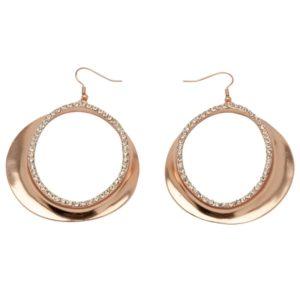E50203.51 - Boucle d'oreilles dorées à l'or rose 24 carats avec cristaux clairs
