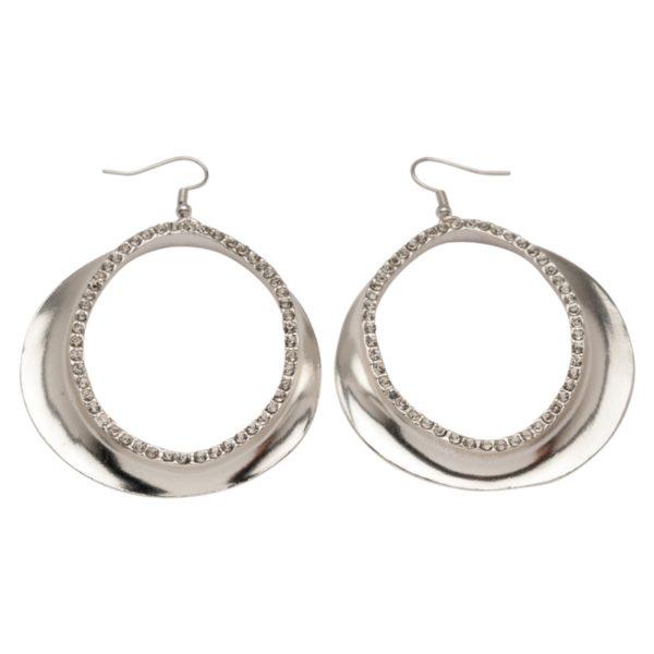 E50203.21 - Boucle d'oreilles argentées au 925 sterling avec cristaux clairs